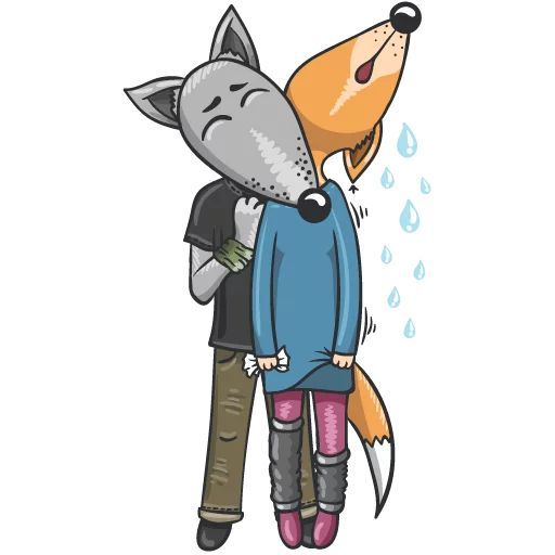 Sticker «Wolf and Fox-3»